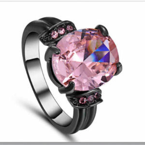 Jewelry - Pink Topaz 10KT Black Gold Fill Size 8 Cocktail